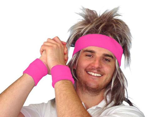 80s Hot Pink Tennis Sweatband Set