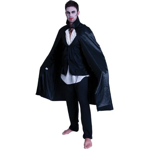 Adult Satin Black Cape with Collar