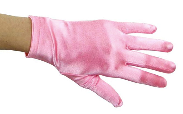 Pink Satin Wrist Length Gloves