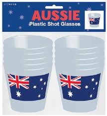 Australian Flag Plastic Shot Glasses 10pk