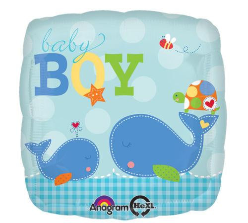 Ahoy Baby Boy Whale Balloon