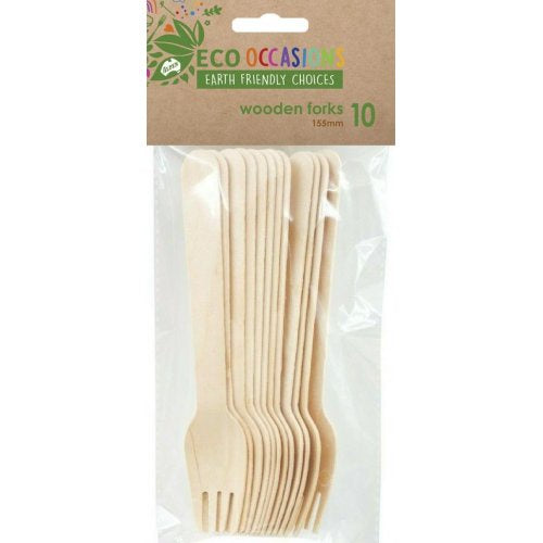 Eco Occasions Wooden Forks Pack of 10