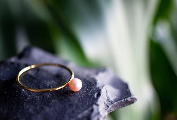 Pink Pearl Gold Stacking Rings