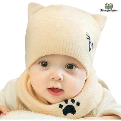 Bonnet enfant chat beige