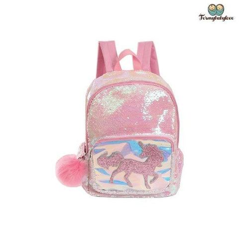 Cartable licorne à paillettes rose