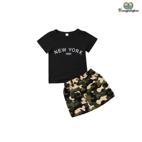 Ensemble fille New York et jupe militaire