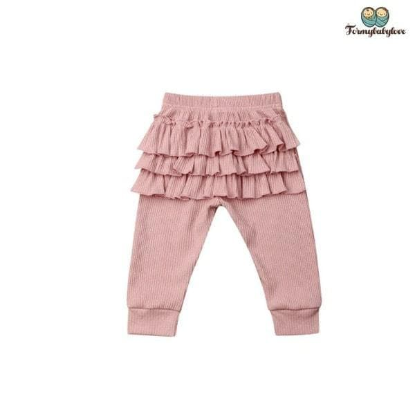 Pantalon bébé fille à volants rose