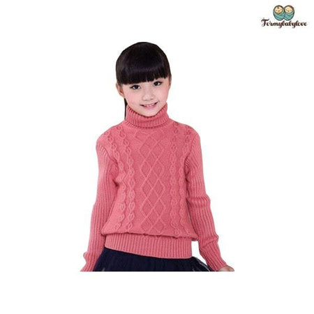 Pull fille col roulé rose