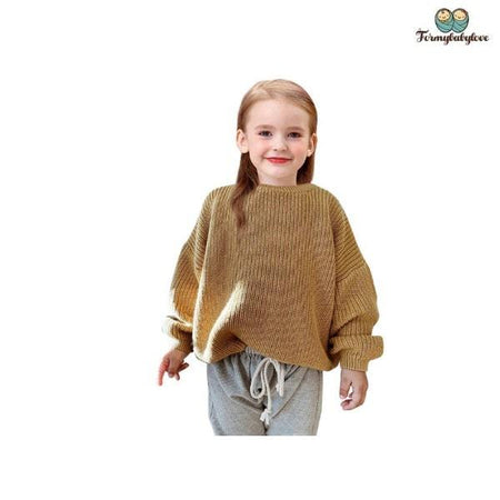 Pull fille manches longues marron