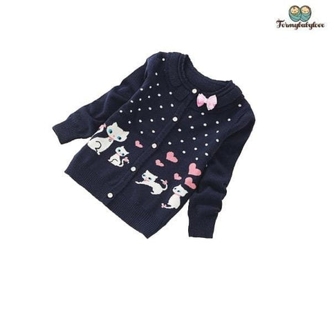 Pull fille petits chats noir
