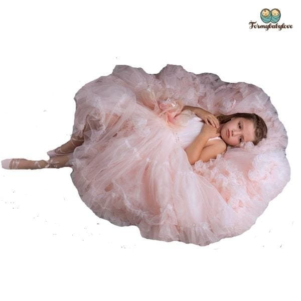 Robe de cérémonie fille pour un shooting photo rose