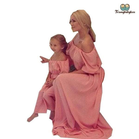 Robe mère fille assortie rose