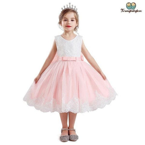 Robe de princesse fille rose devant