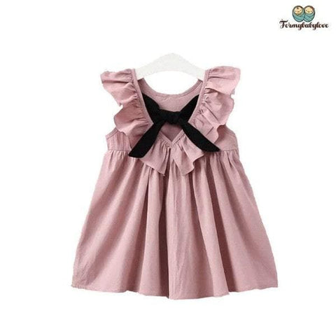Robe fille rose à volants