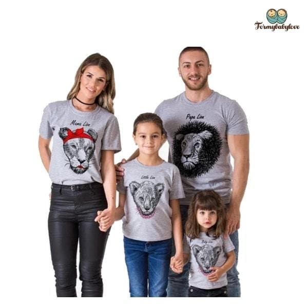 Tee shirt famille assorti lion