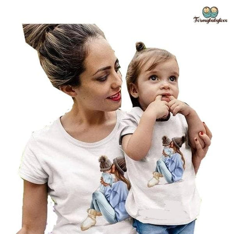 Tee shirt mère fille bisous