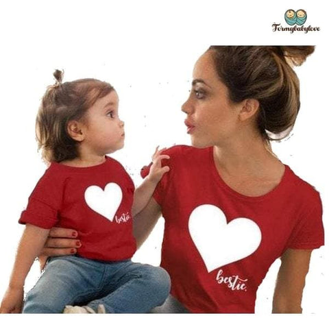 Tee shirt mère fille coeur rouge