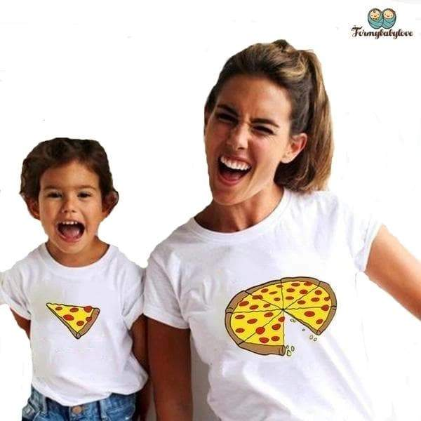 Tee shirt mère fille pizza