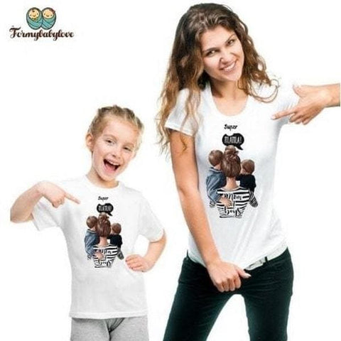 Tee shirt mère fille super maman