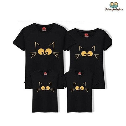 Tee shirt famille assorti chat noir