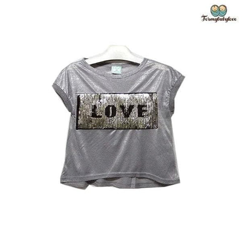 Tee shirt fille love à paillettes gris