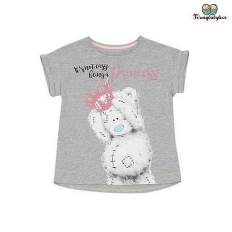 Tee shirt fille princesse ourse gris