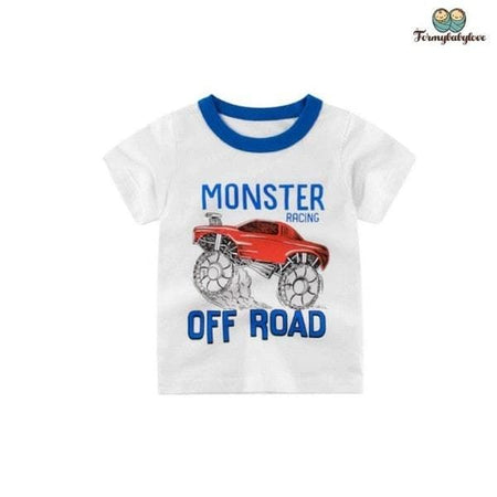 Tee shirt garçon monster truck blanc