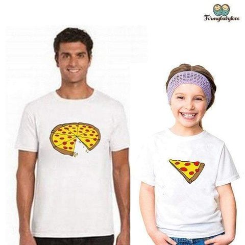Tee shirt père fille fans de pizza