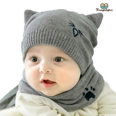 Bonnet enfant chat gris