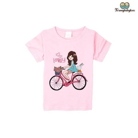Tee shirt fille rose princesse