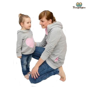 Tenue mère fille sweat amour rose