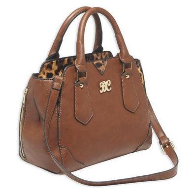 Satchel Style Purse with Holster Chestnut/Leopard