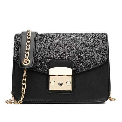 Sequin Small Female Square Package Simple Portable Shoulder Messenger Chain Handbags - Black