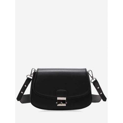 Chic Contrasting Color PU Leather Crossbody Bag - Black