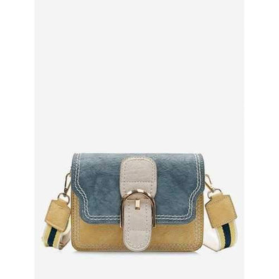 Buckled Contrasting Color Stitching Crossbody Bag - Yellow