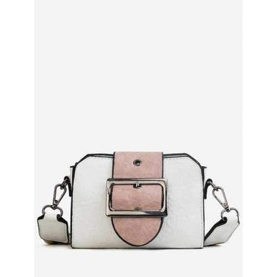 Chic Color Block PU Leather Buckled Crossbody Bag - White