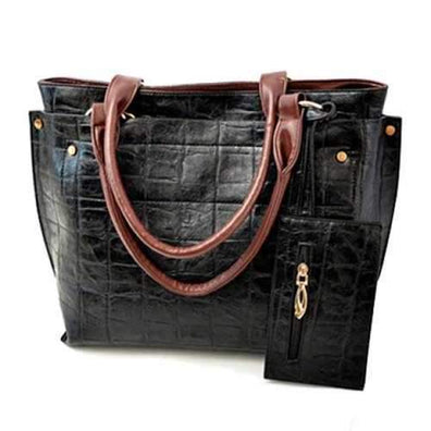 Street Style Stone Pattern and Pendant Design Women's Shoulder Bag - Black