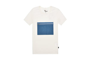 Petit Clair white t-shirt with denim pocket