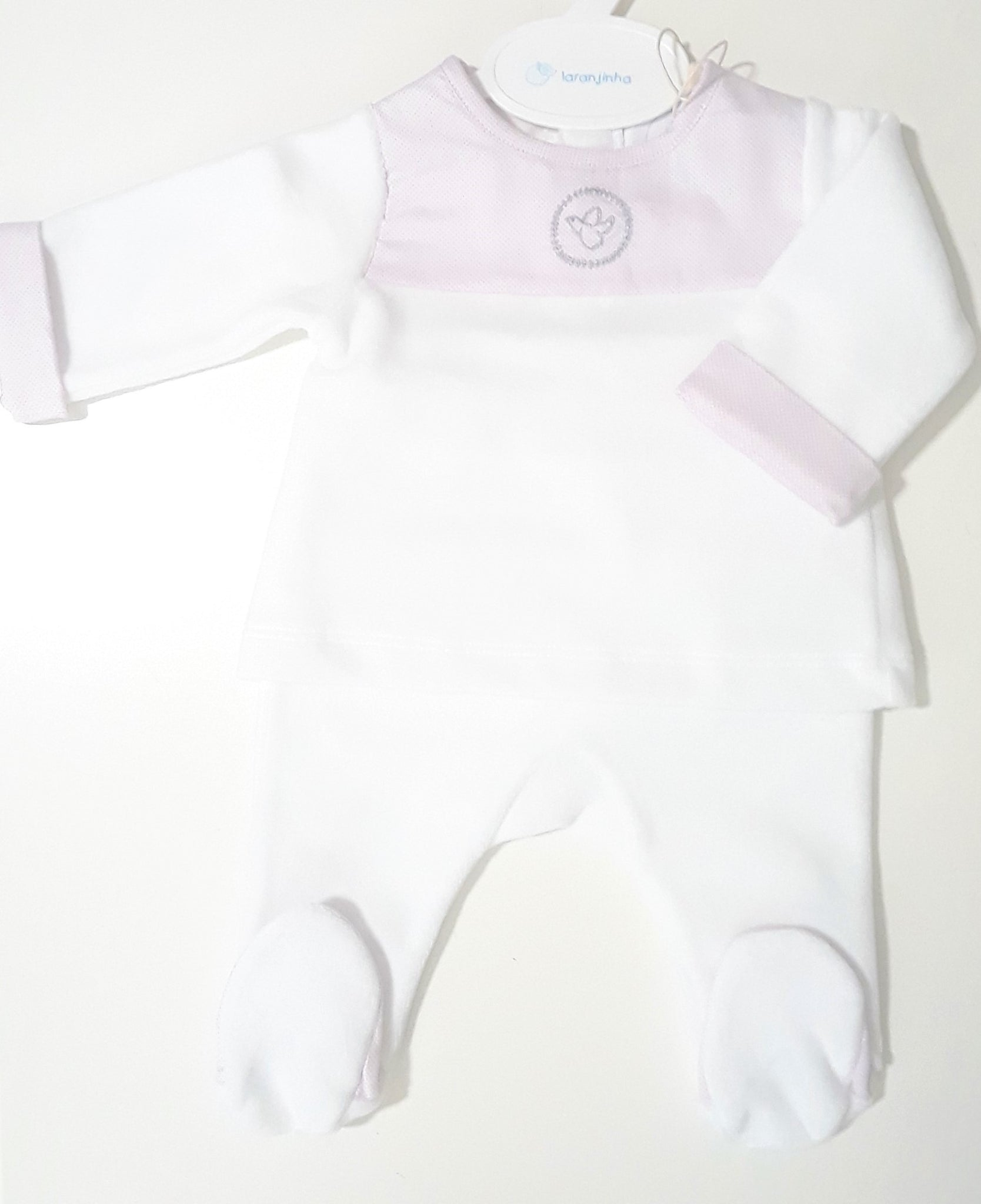 Laranjinha velour footed 2 pc set with pink dotted print detail