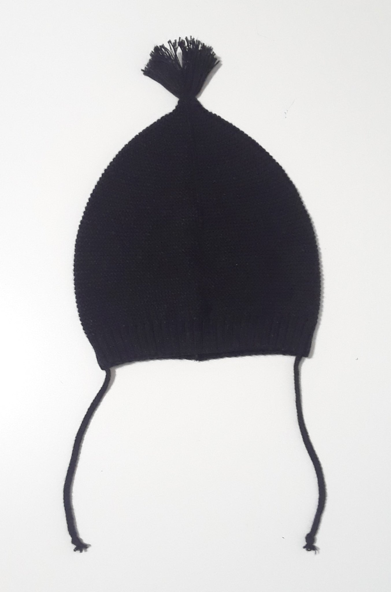 Message in the Bottle black knit hat with tassel