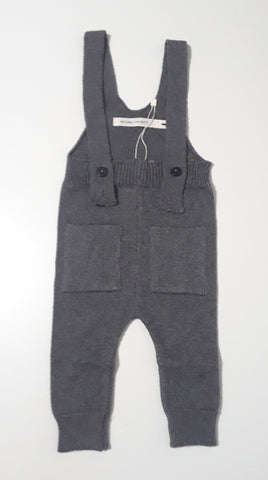 Message in the bottle grey knit overalls