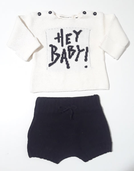 Message in the Bottle black & white hey baby knit set