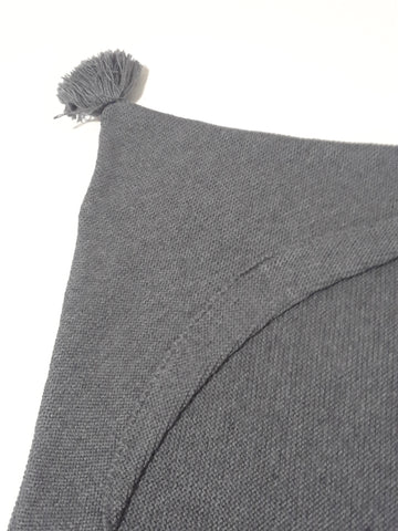 Message in the Bottle grey knit hooded blanket with tassels