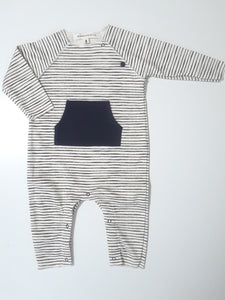 Message in the Bottle black & white stripe romper with kangaroo pocket