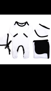 Bonjour baby white & black ribbed layette set