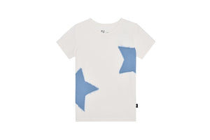 Petit Clair white t-shirt with denim stars