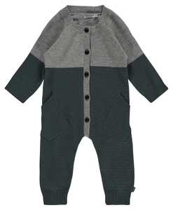 Imps & Elfs green & grey color block knit footie