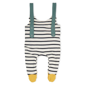 ORGANIC ZOO STRIPED ROMPER WITH CONTRAST STRAPS &  FEET