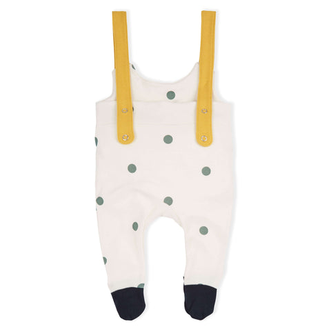 ORGANIC ZOO DOTTED ROMPER WITH CONTRAST STRAPS & FEET