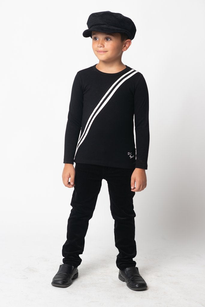 Petit Clair black sports stripe top